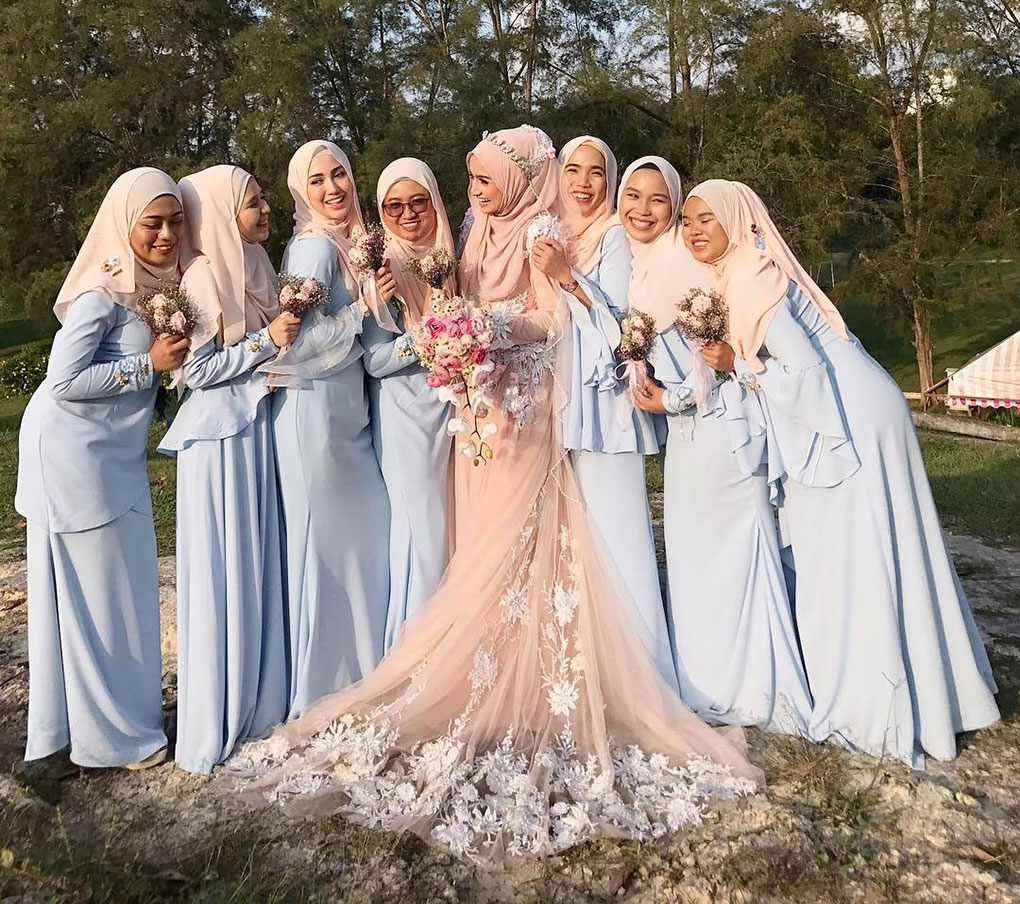 Baju Bridesmaid Baby Blue & Peach