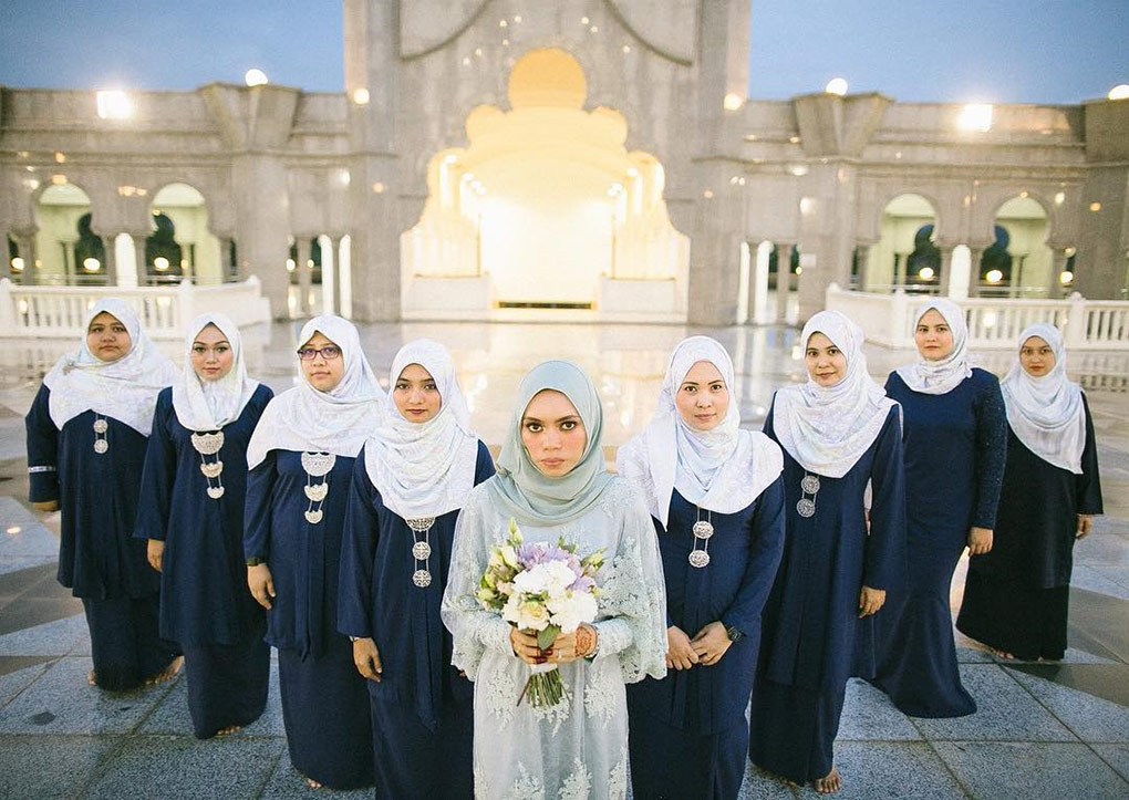 Baju Bridesmaid Dark Blue & Light Grey