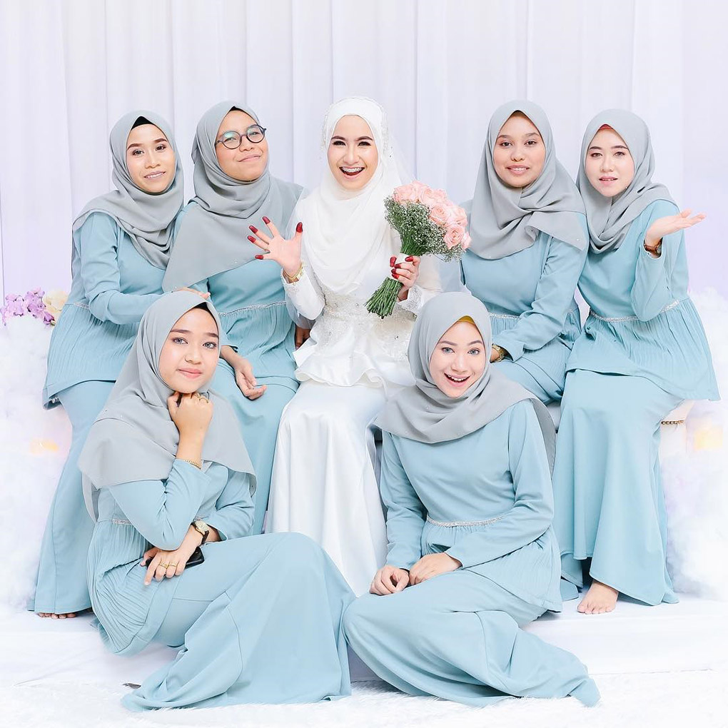Baju Bridesmaid Light turquoise & Grey