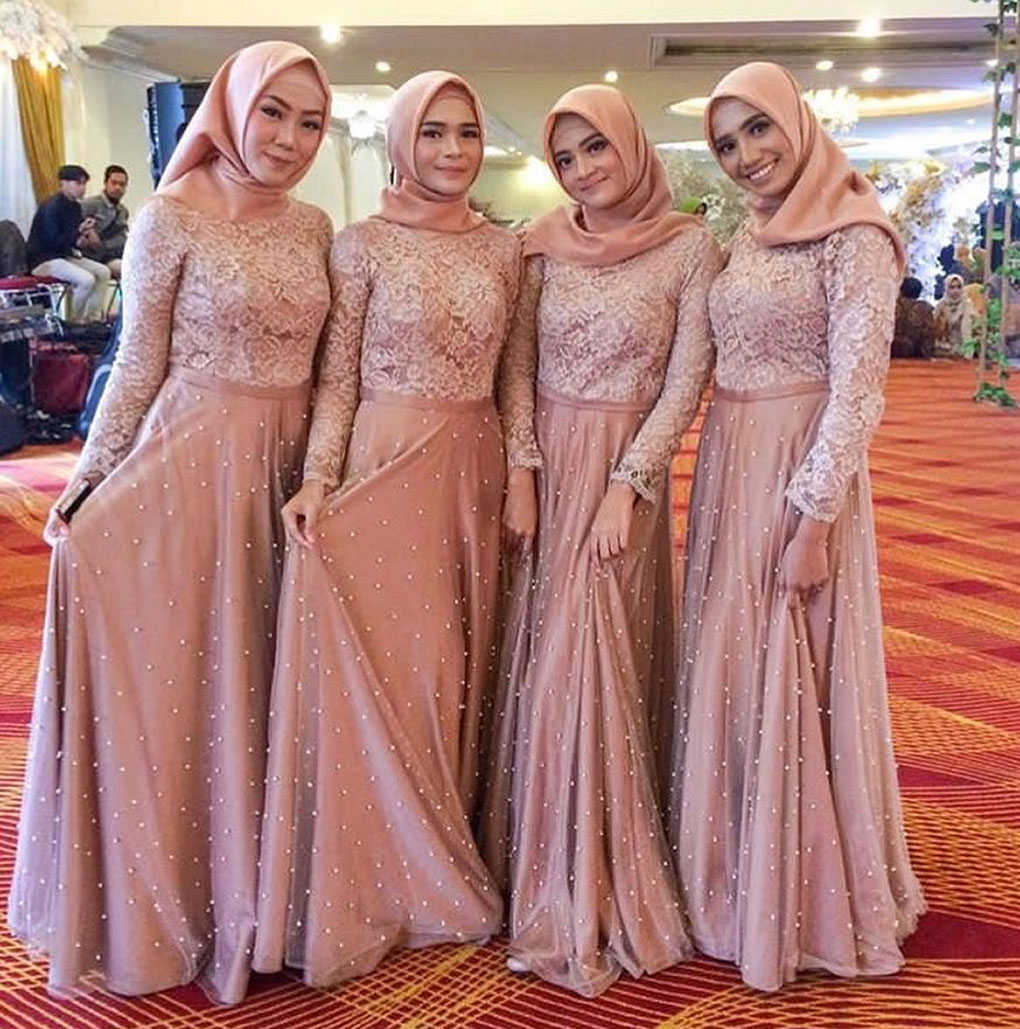 Jubah Bridesmaid Lace Dusty Rose