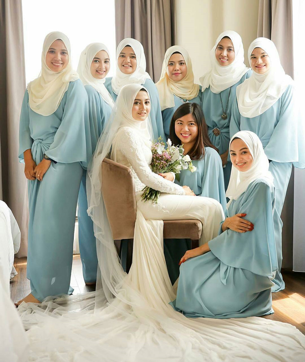 Baju Bridesmaid Light blue & ivory white
